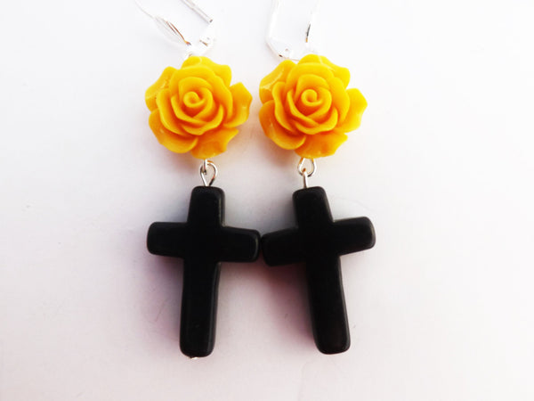 Mustard Yellow Rose and Black Cross Earrings