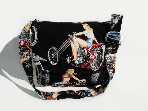 """What a Square""  Motorcycles & Pinups  Messeneger Bag"
