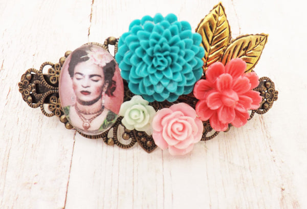 Frida Teal and Pastel Flower Hair Clip