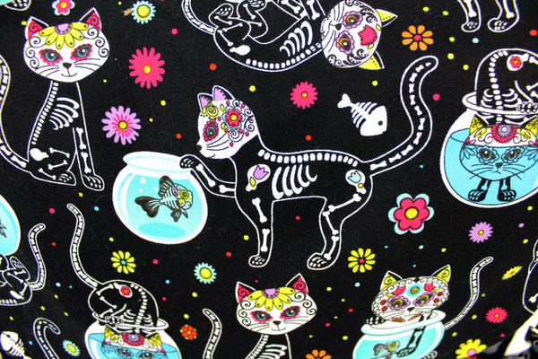 """What a Square"" Sugar Skull Cat and Fishbowl Messenger Bag"