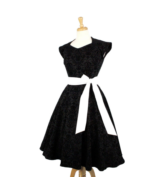 Black Damask A-Line Dress