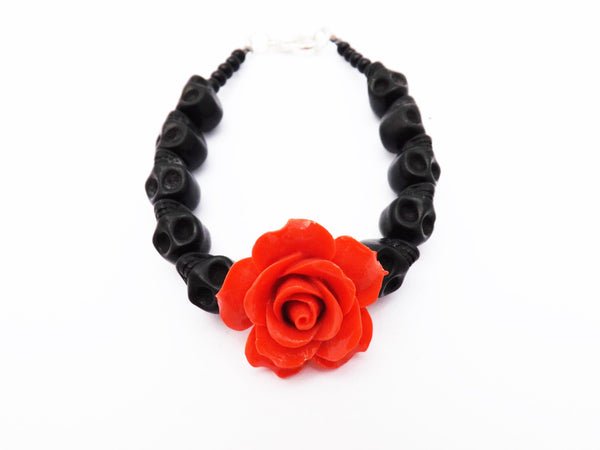 Beautiful Black Skull Bracelet With Rose