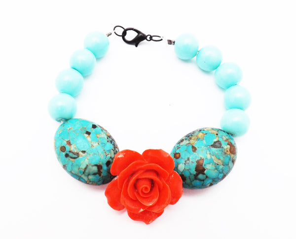 Large Blue Egg beads Rose Bracelet