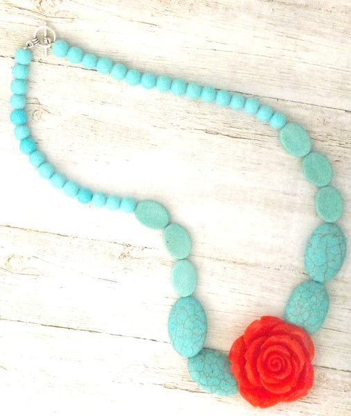 Red Resin Rose and Howlite Stone Necklace