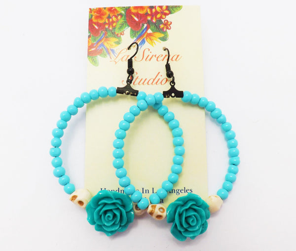 Turquoise Day of the Dead Skull and Rose Loop Earring