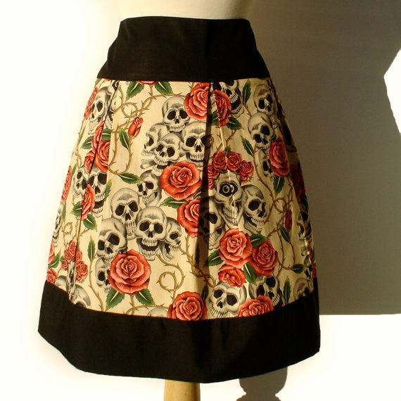 """Riding Shotgun "" Skulls and Roses Beige Skirt"
