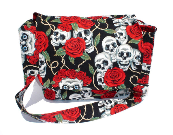 """What a Square""  Skulls and Roses Messenger Bag"