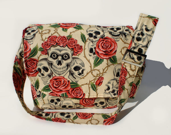 """What a Square""  Skulls and Roses Beige Messenger Bag"