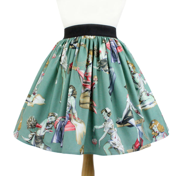 """Lindy"" Zombie Pinups Green Skirt"
