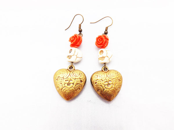 Western Inspired Brass Heart Skull and Coral Red Rose Earrings