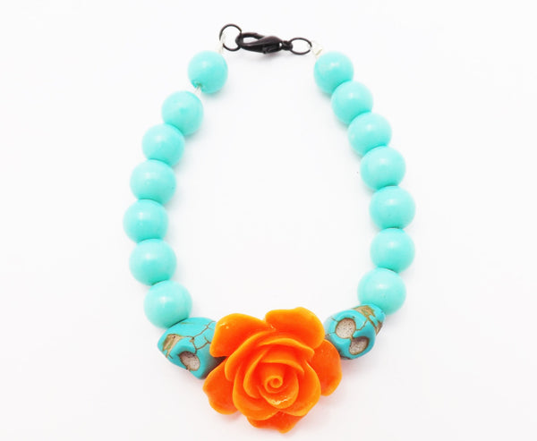 Turquoise Beads Skulls and Coral Rose Bracelet