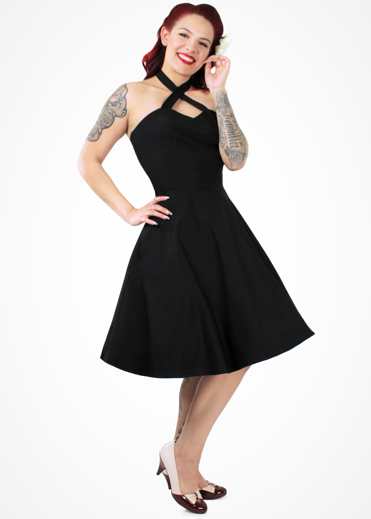 Black Criss Cross Halter Dress