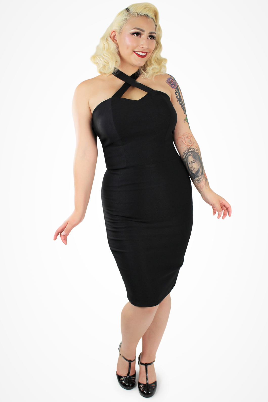 Black Criss Cross Fitted Dress, front
