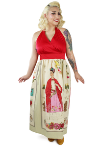 model wearing frida maxi dress