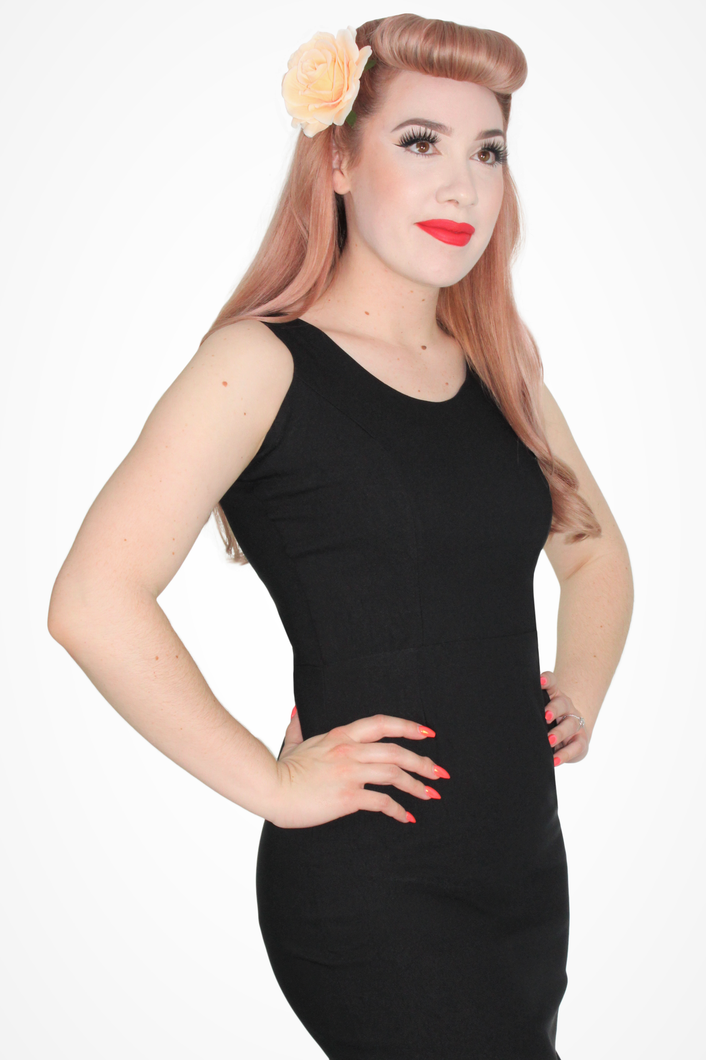 Audrey Black Wiggle Dress, close