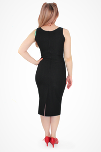 Audrey Black Wiggle Dress, back