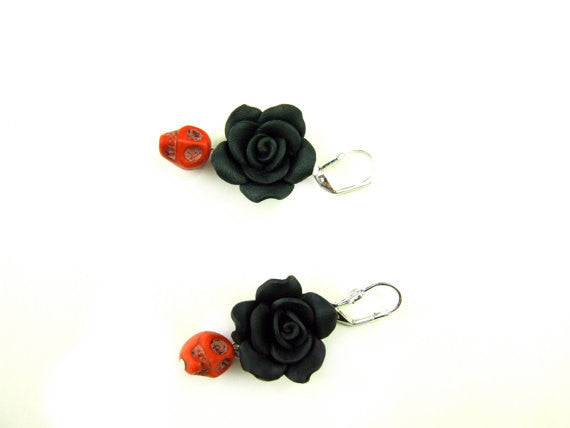 Black Rose and Red Skulls Drop Earrings