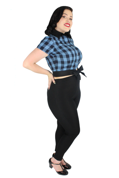 1950s Blue Plaid Picnic Top XS-4XL