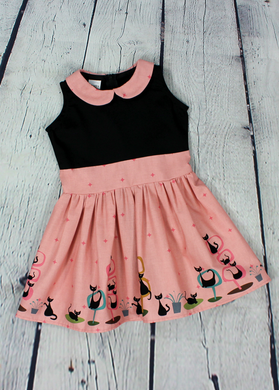 Girl's Pink Retro Cat Dress