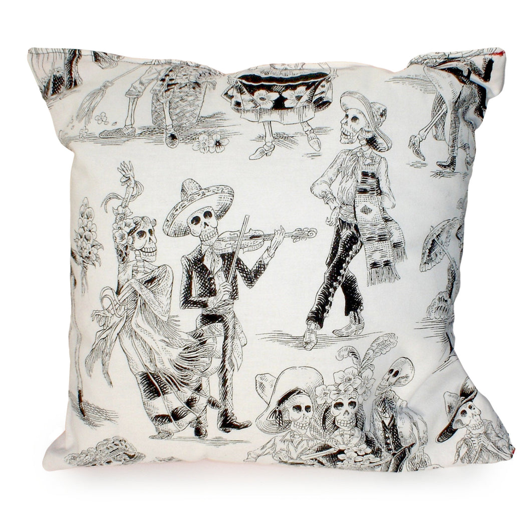 Catrines & Catrinas White & Black Throw Pillow, front