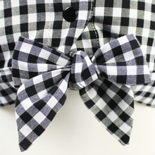 Load image into Gallery viewer, Girl's Black and White Gingham Knot Top