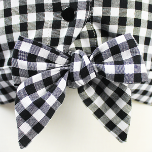 Girl's Black and White Gingham Knot Top