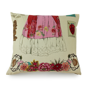 Frida Tan Throw Pillow Cover, back