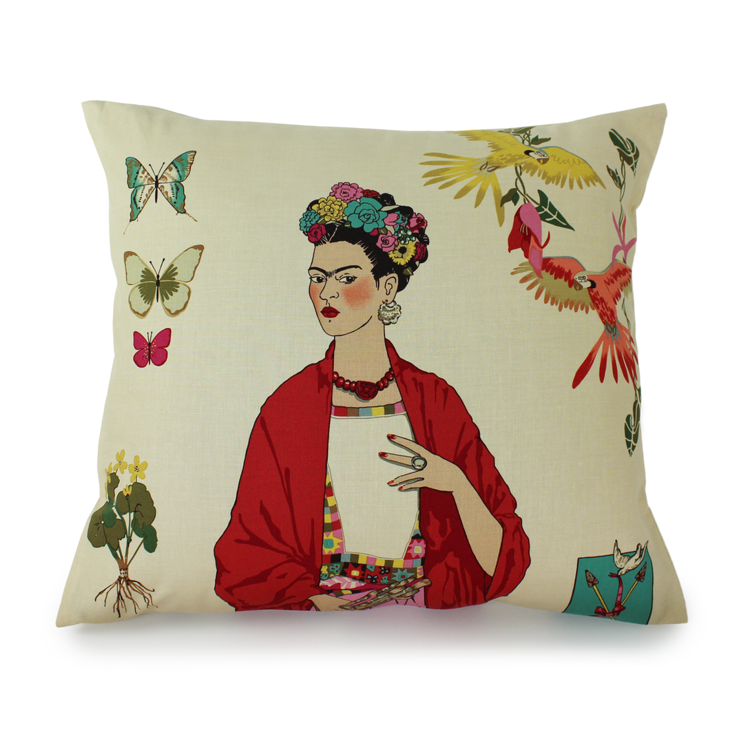 Frida Tan Throw Pillow Coverm, front