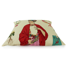 Load image into Gallery viewer, Frida Tan Throw Pillow Cover, side