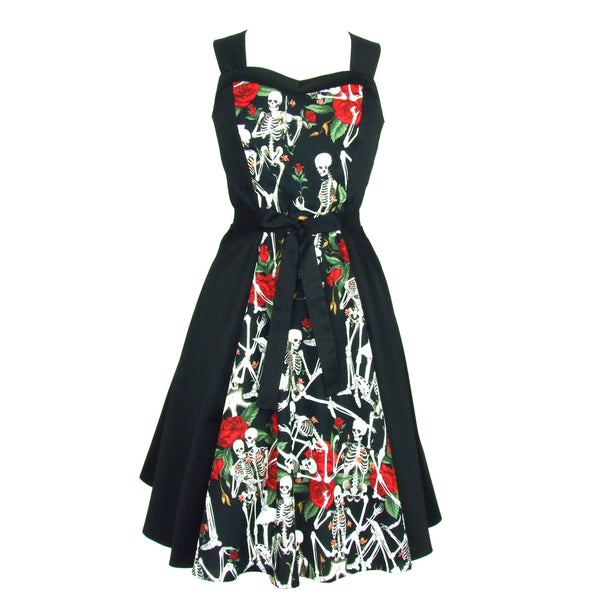 Skeletons and Roses Black Full Circle Swing Dress