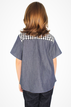 Load image into Gallery viewer, Boy's Western Gingham Denim Top