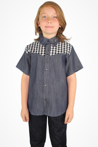 Boy's Western Gingham Denim Top