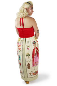 model wearing frida maxi dress back side