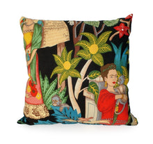 Load image into Gallery viewer, Frida In the Jungle Black Throw Pillow, front