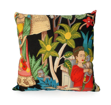 Frida In the Jungle Black Throw Pillow, front