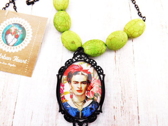 Frida Kahlo Necklace Green Beads/Black Chain