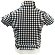 Load image into Gallery viewer, Girl's Black and White Gingham Knot Top, back