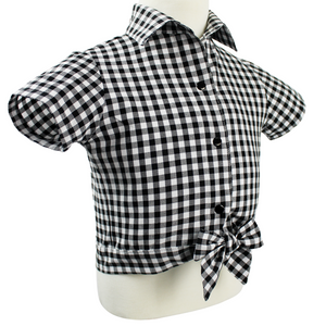 Girl's Black and White Gingham Knot Top, side