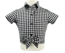 Load image into Gallery viewer, Girl's Black and White Gingham Knot Top, front