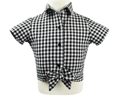 Girl's Black and White Gingham Knot Top, front