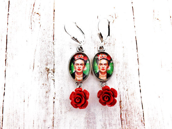 Frida Kahlo Green, Silver and Red Flower Dangle Earrings