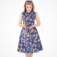 Load image into Gallery viewer, Hemet Blue Floral Dress Front