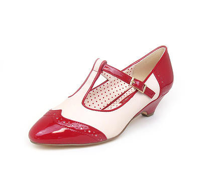 IONE Red Low Heel T-strap Pump