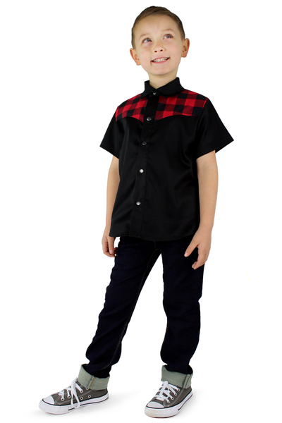 Boy's Red and Black Western Top