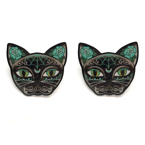 Luna Black Kitty Stud Earrings