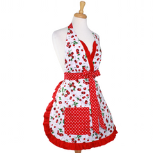 "Load image into Gallery viewer, ""Butter Me Up"" Cherry Christmas Apron - Mrs. Claus' Cherry Pie Holiday Retro Apron"