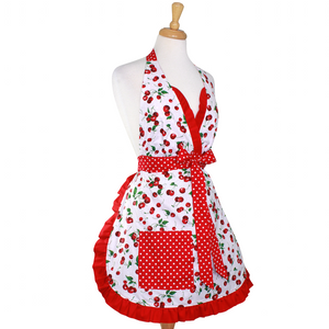 """Butter Me Up"" Cherry Christmas Apron - Mrs. Claus' Cherry Pie Holiday Retro Apron"