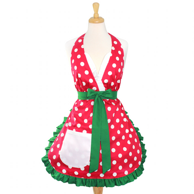Red Polkadot Christmas Apron