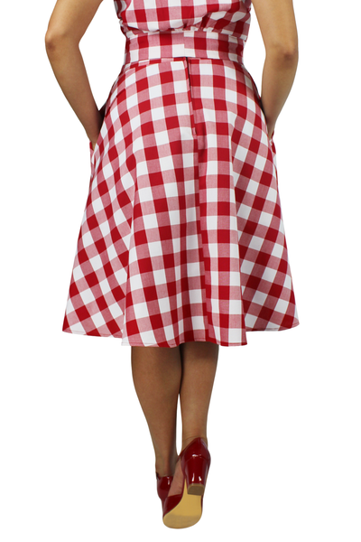 Red and White Plaid Circle Skirt