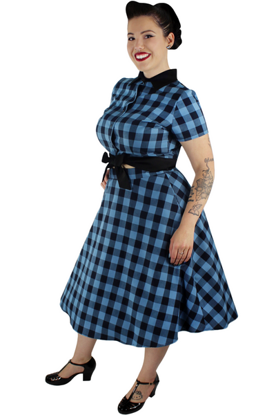 Blue and Black Plaid Circle Skirt